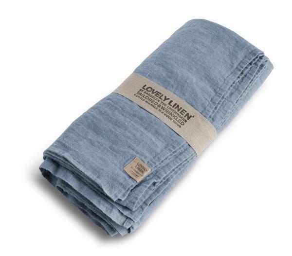 Buegelfreie-Tischdecken-und-Servietten-von-Lovely-Linen in dusty-blue