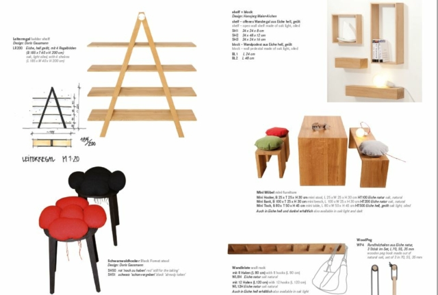 Wandboards, Regale und Stühle